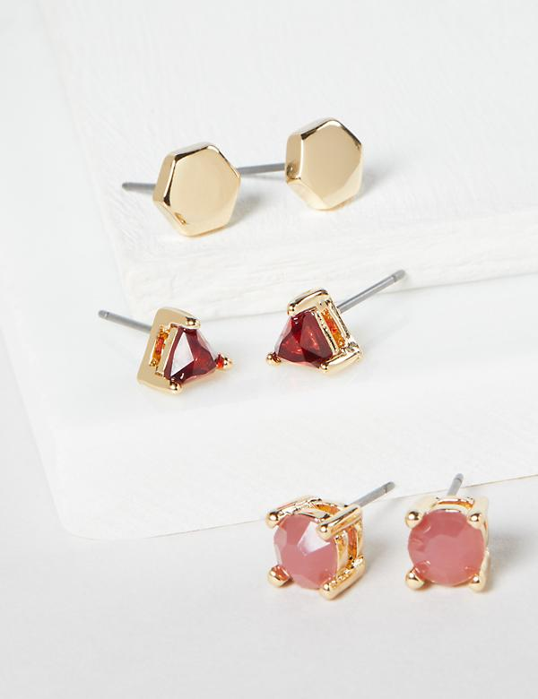 Stud Earrings 3-Pack - Geo & Stones
