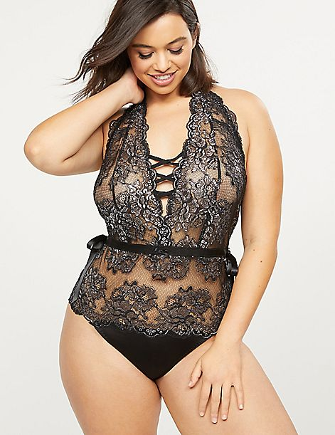 Metallic Lace Halter Bodysuit
