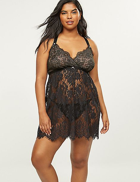 Scalloped Lace No-Wire Babydoll