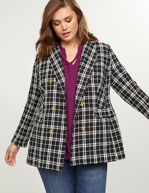 Double Breasted Blazer - Plaid Tweed