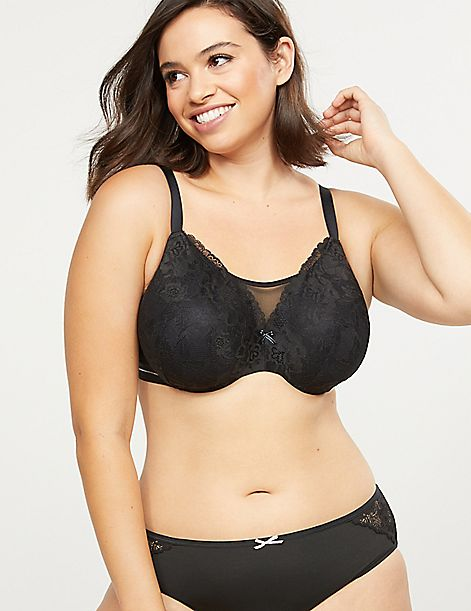 Modern Lace & Mesh Lightly Lined Full Coverage Bra