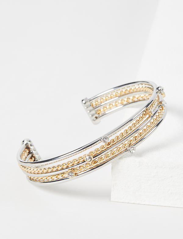 Mixed Metal Twist Cuff Bracelet