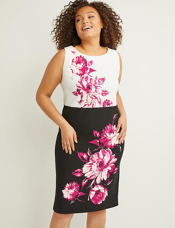 Floral Colorblock Sheath Dress with Back Cutout
