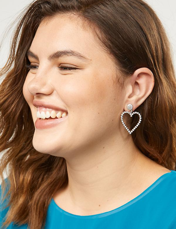 Pave Heart Drop Earrings