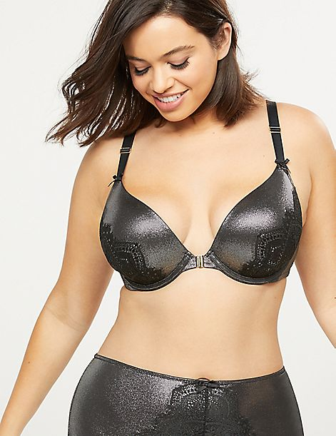 Metallic Front-Close Boost Plunge Bra With Lace