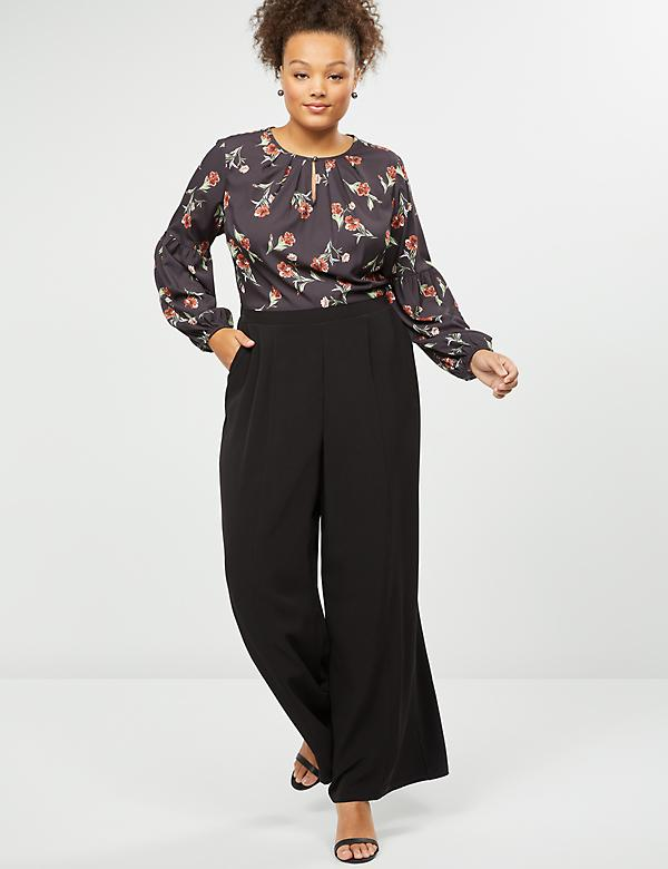 Mixed Fabric Wide Leg Jumpsuit