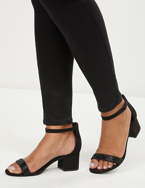 Ankle-Strap Heel with Black Stones