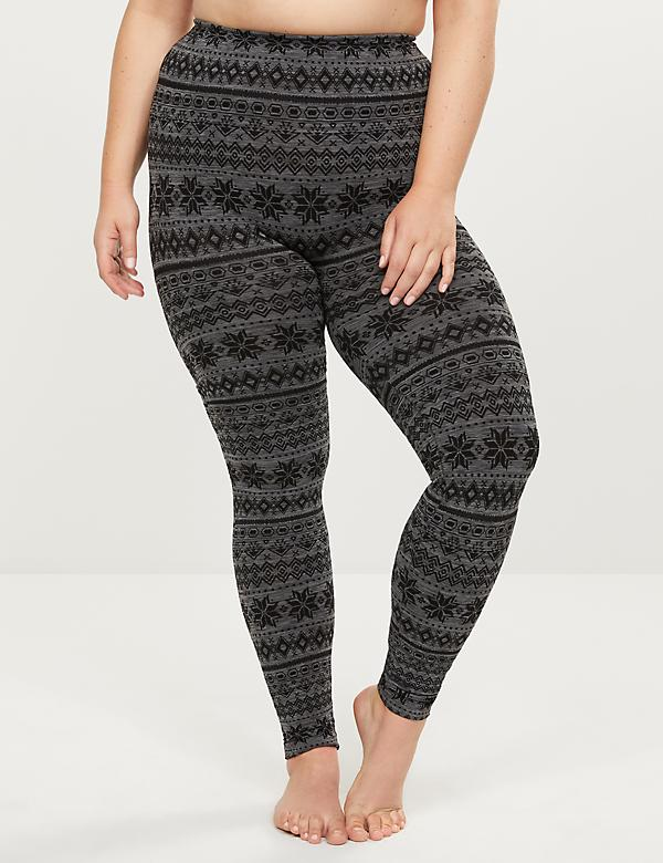 High-Waist Smoothing Leggings - Fair Isle Print