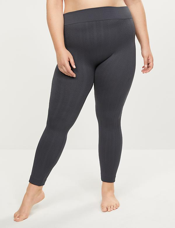High-Waist Fleece Lined Smoothing Leggings - Cable Knit