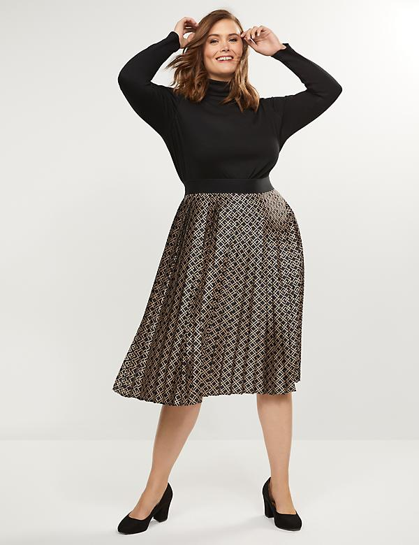 Pleated Scarf-Print Skirt