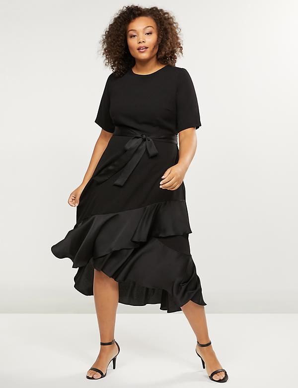 Ruffled Hem Fit & Flare Midi Dress