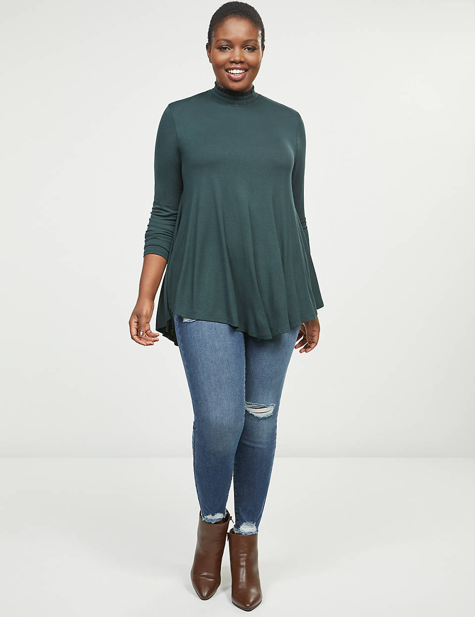 smocked-neck-high-low-swing-tunic by lane-bryant