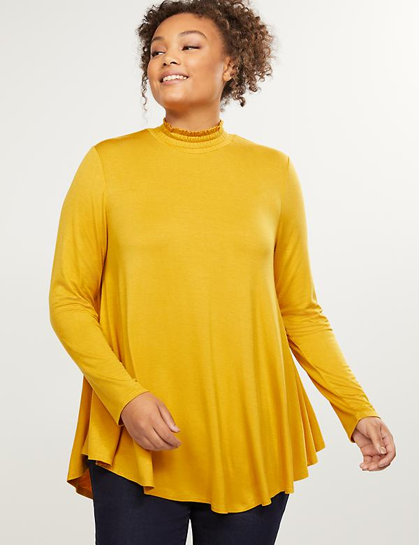 Smocked Neck High-Low Swing Tunic