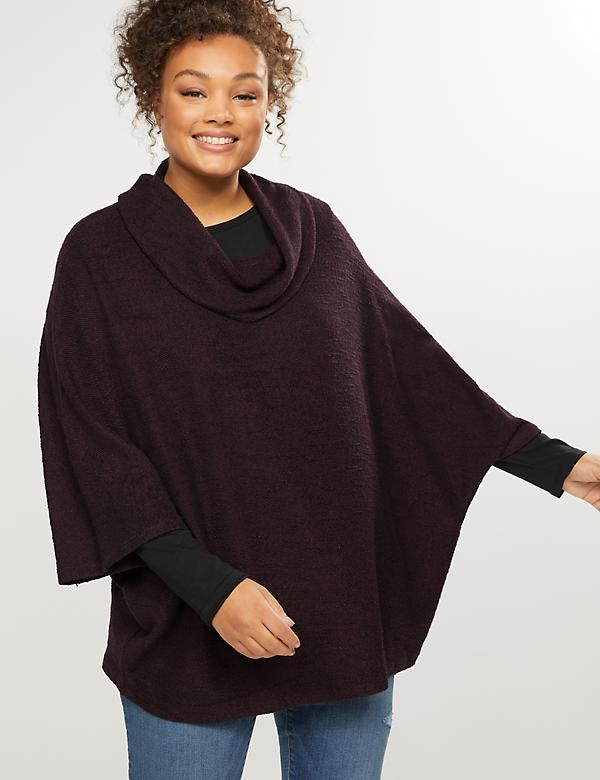 Textured Cowl-Neck Poncho