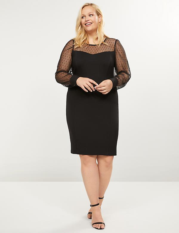 Mesh Yoke Sheath Dress