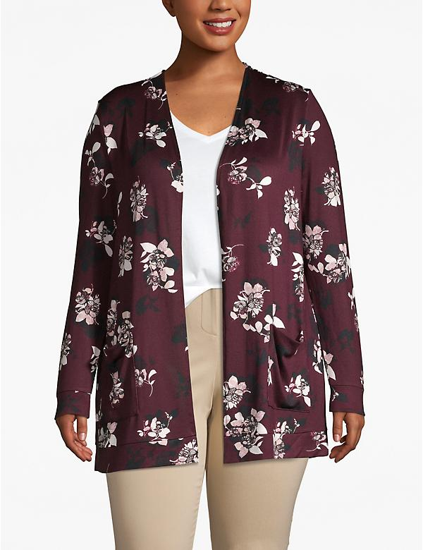 Floral Cozy Touch Open-Front Cardigan