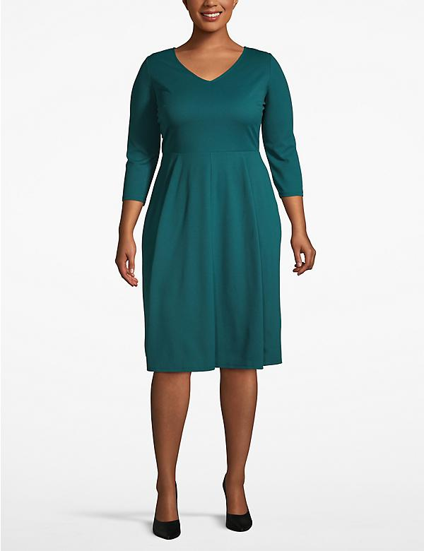 3/4 Sleeve V-Neck Fit & Flare Dress