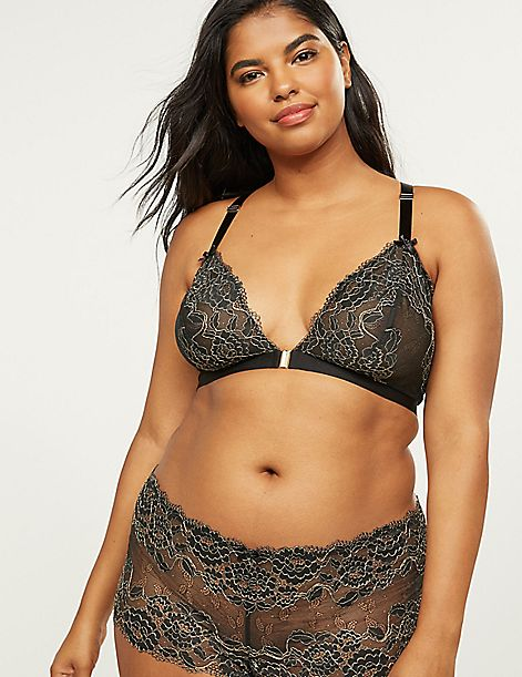 Unlined No-Wire Bralette With Metallic Lace