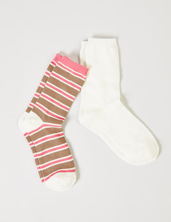 Striped & Solid Crew Socks 2-Pack