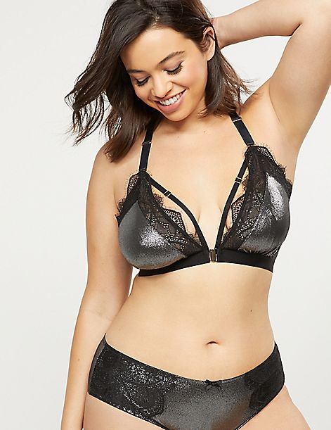 Unlined No-Wire Metallic Bra With Lace