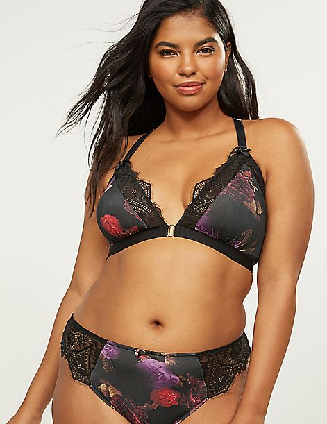 Floral Unlined No-Wire Bra With Eyelash Lace