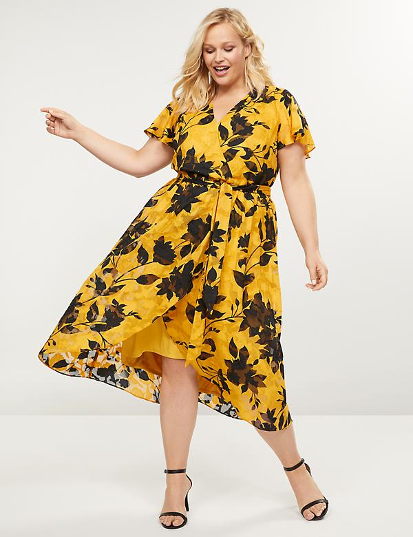 Textured Floral Faux-Wrap Midi Dress