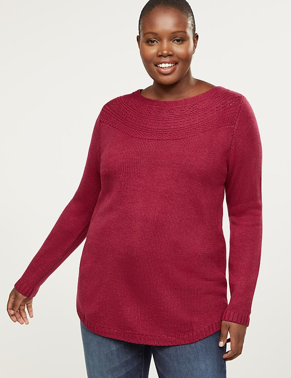 Pointelle Boatneck Sweater
