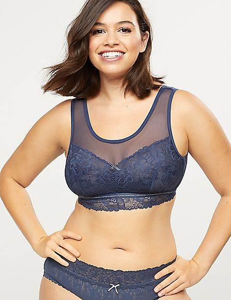 Modern Lace & Mesh Unlined No-Wire Bra