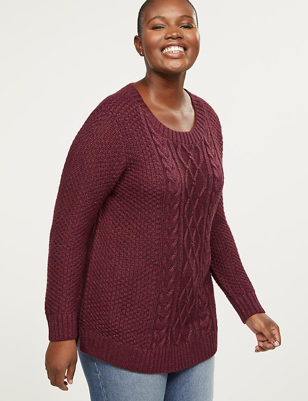 Cable Knit Shimmer Tunic Sweater