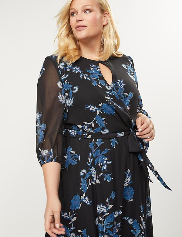 Floral High-Low Ruffle Hem Dress