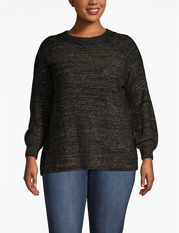 Blouson-Sleeve Shimmer Sweater