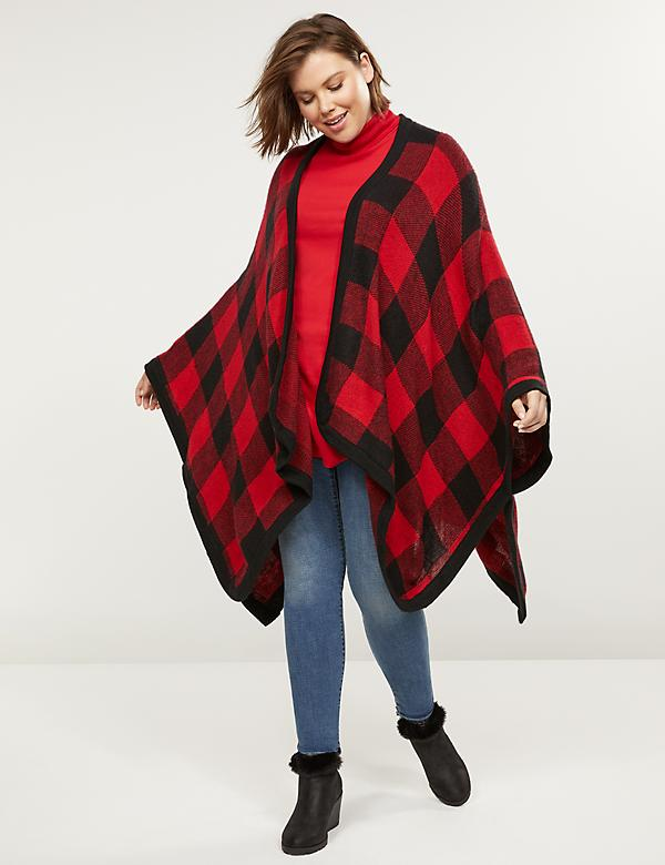 Buffalo Check Poncho Overpiece
