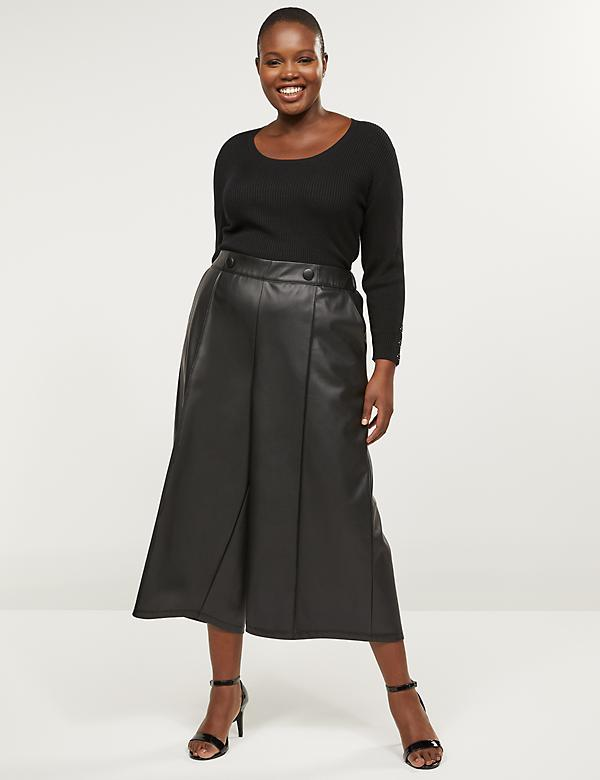 Faux Leather Wide Leg Crop With Button Waist