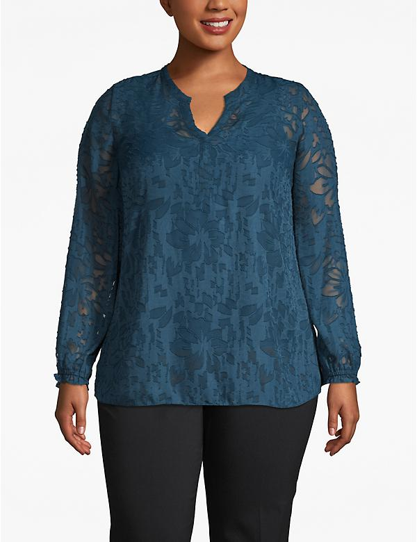 Blouson-Sleeve Textured Burnout Blouse