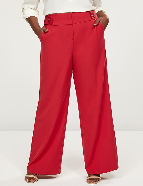 Allie Tailored Stretch Wide Leg Pant - Tabbed Waist