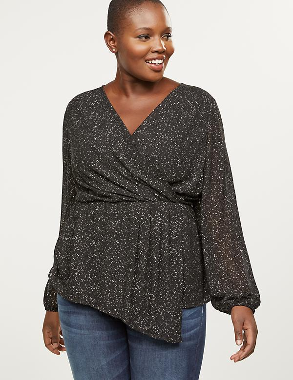 Draped Foil-Print Faux-Wrap Top