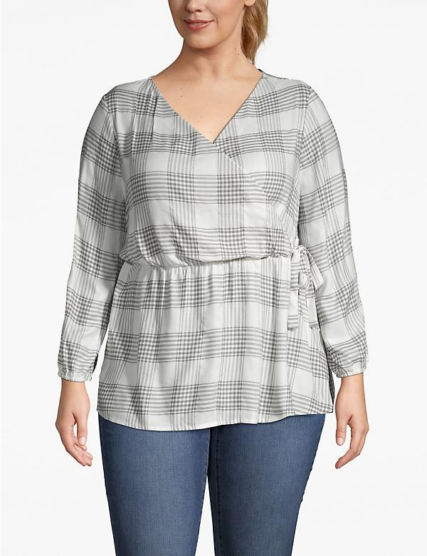 Plaid Shimmer Faux-Wrap Blouse