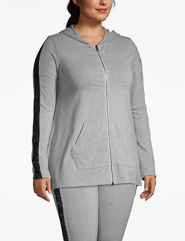 Active Lace-Sleeve Zip-Up Hoodie