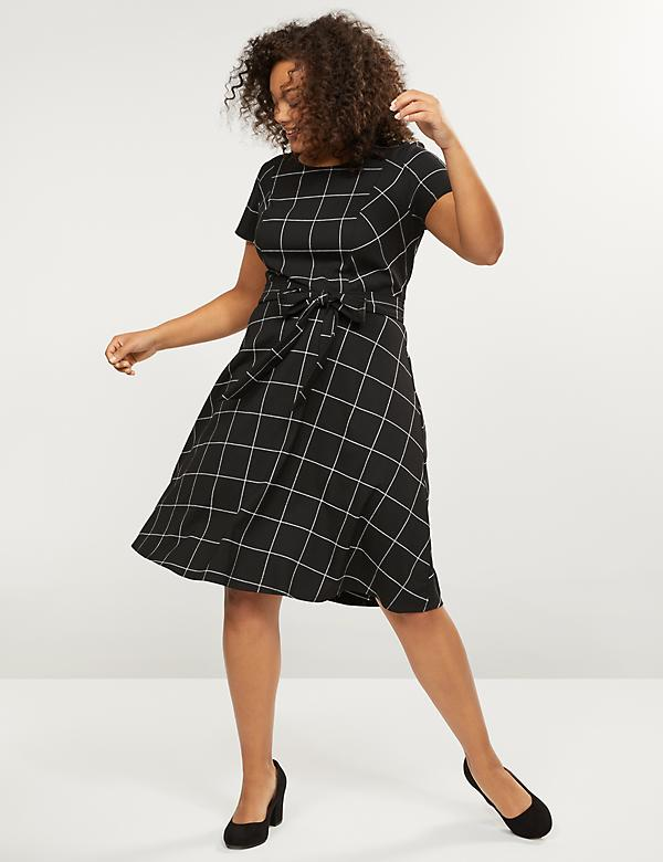 Belted Fit & Flare Dress - Plaid