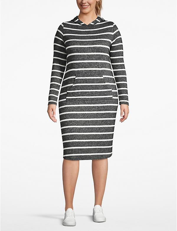 Active Cozy Touch Striped Hooded Dress