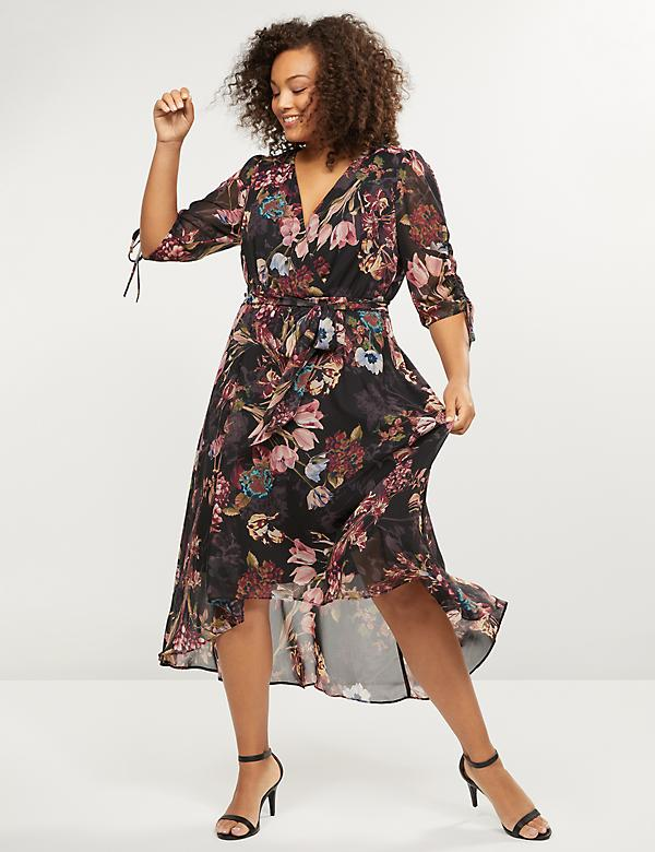 Floral High-Low Ruffle Hem Midi Dress