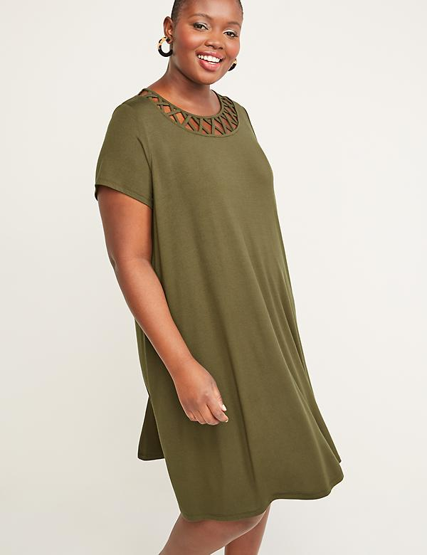 Caged Neckline Swing Dress