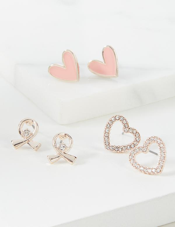 Heart & Ribbon Stud Earrings 3-Pack