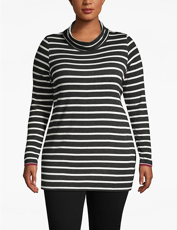 Active Striped Cowlneck Tunic
