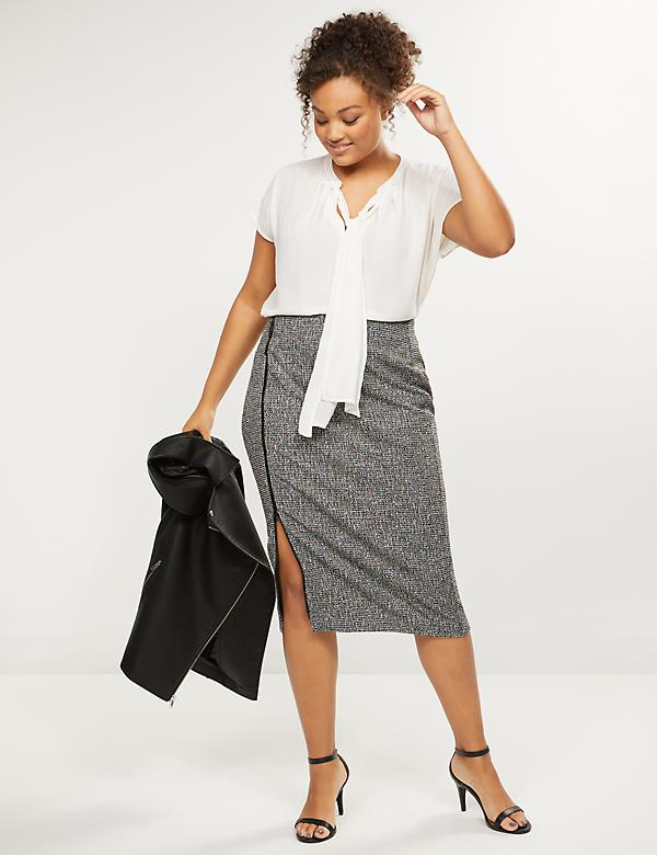 Textured Zip-Front Pencil Skirt