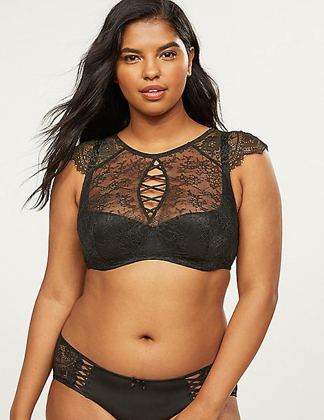 High-Neck French Balconette Bra With Scalloped Lace