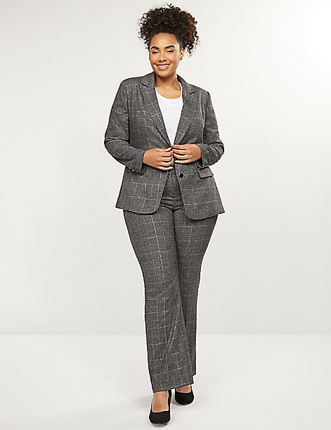 Curvy Allie Tailored Stretch Straight Leg Pant - Metallic Plaid