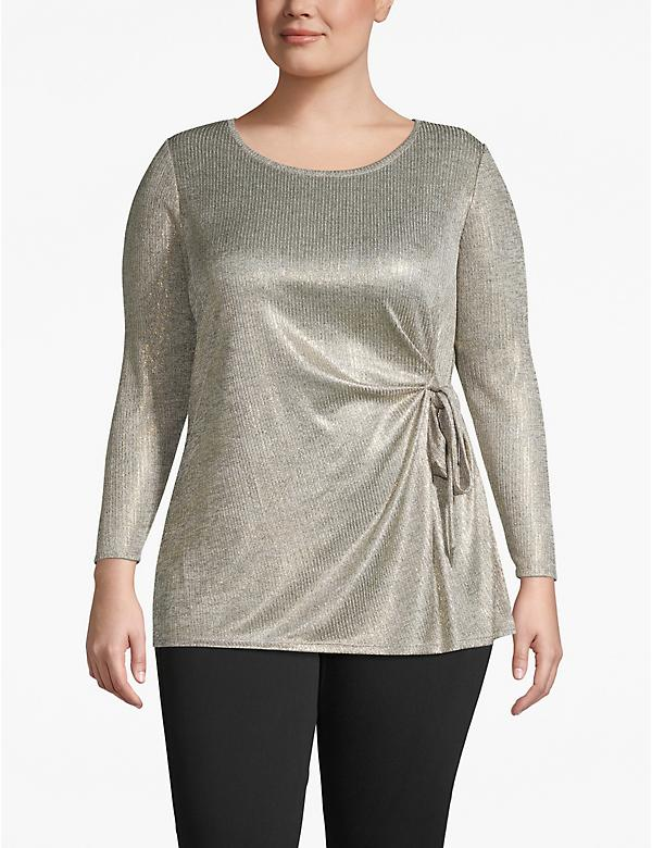 Metallic Ribbed Tie-Front Tunic Top