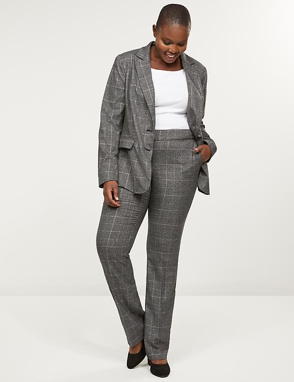 Allie Tailored Stretch Straight Pant - Shimmer Plaid