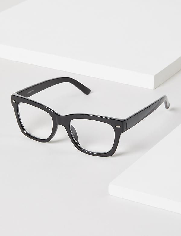 Black Bold Rectangular Reading Glasses